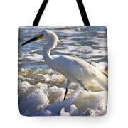 Bubbles Around Snowy Egret Tote Bag