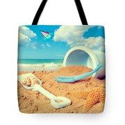 Bucket And Spade On Beach Tote Bag by Amanda Elwell