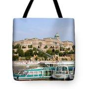 Buda Castle And Boats On Danube River Tote Bag