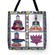 Buddha Yoga Chakra Lotus Shivalinga Meditation Navin Joshi Rights Managed Images Graphic Design Is A Tote Bag by Navin Joshi