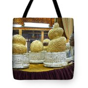 Buddha Figures With Thick Layer Of Gold Leaf In Phaung Daw U Pagoda Myanmar Tote Bag