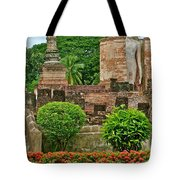 Buddhas In Wat Mahathat In 13th Century Sukhothai Historical Park-thailand Tote Bag