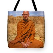 Buddhist Monk Meditating Tote Bag by David Parker and SPL