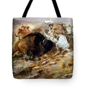 Buffalo Hunt Tote Bag by Charles Russell