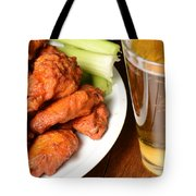 Buffalo Wings With Celery Sticks And Beer Tote Bag
