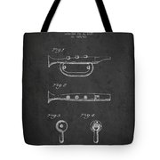Bugle Call Instrument Patent Drawing From 1939 - Dark Tote Bag