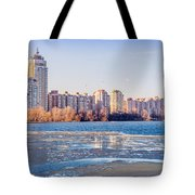 Buildings Close To The Frozen River Tote Bag