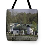 Buildings On The Shore Of Section Of Dal Lake In Srinagar Tote Bag
