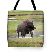 Bull Bison Shaking In Yellowstone National Park Tote Bag