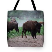 Bull Buffalo Guarding Herd With Green Grass Tote Bag