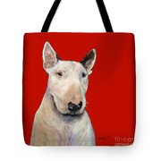 Bull Terrier On Red Tote Bag