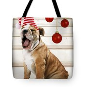 Holiday Bulldog Puppy  Tote Bag