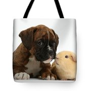 Bulldog Puppy With Yellow Guinea Pig Tote Bag