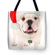 Bulldog Santa Tote Bag