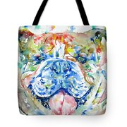 Bulldog - Watercolor Portrait Tote Bag