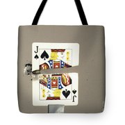 Bullet Piercing Playing Card Tote Bag by Gary S. Settles
