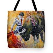 Bullfighting In Neon Light 02 Tote Bag