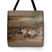 Bullock Cart On Cross Country Road  Tote Bag