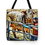 Bullrider And His Bull Tote Bag