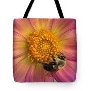 Bumble Bee Dahlia Tote Bag
