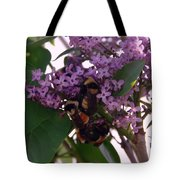 Bumble Bees In Flowers Tote Bag