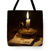 Bundle Of Letters By Candle Light Tote Bag