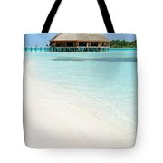 Bungalow Architecture And Beach On A Maldivian Island Tote Bag