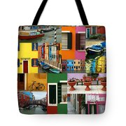 Burano Italy Collage Tote Bag