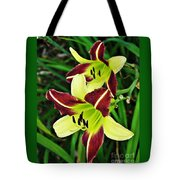 Burgundy And Yellow Lilies 2 Tote Bag