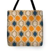 Burlap Blue And Orange Design Tote Bag by Linda Woods