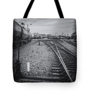 Burlington Vermont Train Yard Vintage Grunge Black And White Tote Bag