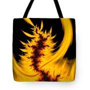 Burning Fractal Fire Warm Orange Flames Black Background Tote Bag
