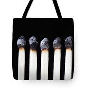 Burnt Matches On Black Tote Bag