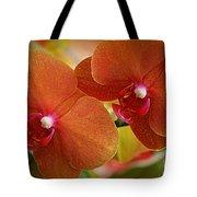Burnt Orange Orchids Tote Bag