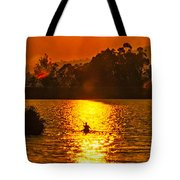 Bushfire Sunset Over The Lake Tote Bag