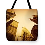 Business Architecture Skyscrapers In London Uk Golden Tint Tote Bag