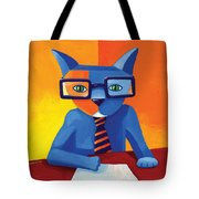 Business Cat Tote Bag by Mike Lawrence