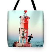 Business Woman On A Buoy Tote Bag