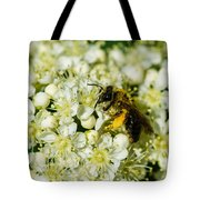 Busy Bee On A Rowan Flowers - Featured 3 Tote Bag
