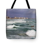 Busy Day In The Surf Tote Bag