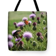 Butterflies And Bull Thistle Wildflowers Tote Bag
