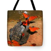 Butterflies And Turtle Tote Bag