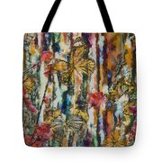 Butterflies In Plum Blossoms And Texture Tote Bag