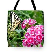 Butterfly And Sweet Williams Tote Bag