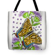 Butterfly And Thistles Tote Bag