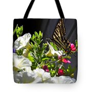 Swallowtail Butterfly On White Petunia Flower Tote Bag