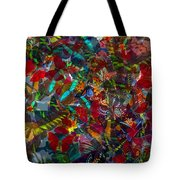 Butterfly Collage Red Tote Bag