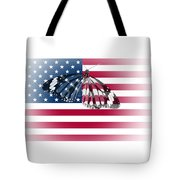 Butterfly Embedded With Usa National Flag Tote Bag