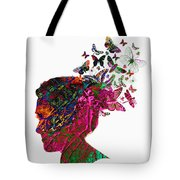 Butterfly Hair Tote Bag