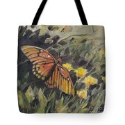 Butterfly Meadow With Yellow Flowers Tote Bag